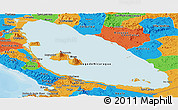 Political Panoramic Map of Nicaragua
