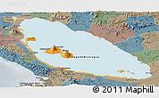 Political Panoramic Map of Nicaragua, semi-desaturated