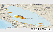 Political Panoramic Map of Nicaragua, shaded relief outside