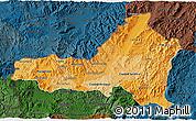 Political Shades 3D Map of Nueva Segovia, darken