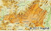Political Shades 3D Map of Nueva Segovia, physical outside