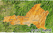 Political Shades 3D Map of Nueva Segovia, satellite outside