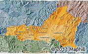 Political Shades 3D Map of Nueva Segovia, semi-desaturated