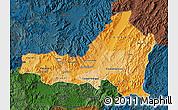 Political Shades Map of Nueva Segovia, darken