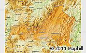 Political Shades Map of Nueva Segovia, physical outside