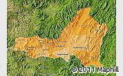 Political Shades Map of Nueva Segovia, satellite outside