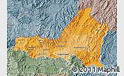 Political Shades Map of Nueva Segovia, semi-desaturated