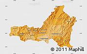 Political Shades Map of Nueva Segovia, single color outside