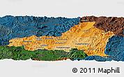 Political Shades Panoramic Map of Nueva Segovia, darken