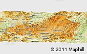 Political Shades Panoramic Map of Nueva Segovia, physical outside