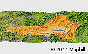 Political Shades Panoramic Map of Nueva Segovia, satellite outside