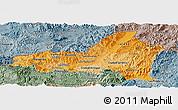 Political Shades Panoramic Map of Nueva Segovia, semi-desaturated