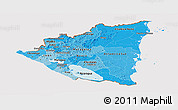 Political Shades Panoramic Map of Nicaragua, cropped outside