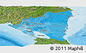 Political Shades Panoramic Map of Nicaragua, satellite outside, bathymetry sea