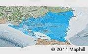 Political Shades Panoramic Map of Nicaragua, semi-desaturated