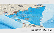 Political Shades Panoramic Map of Nicaragua, shaded relief outside, bathymetry sea