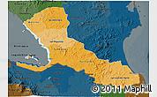 Political Shades 3D Map of Rio San Juan, darken