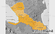 Political Shades Map of Rio San Juan, desaturated