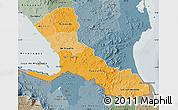 Political Shades Map of Rio San Juan, semi-desaturated