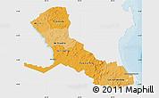 Political Shades Map of Rio San Juan, single color outside