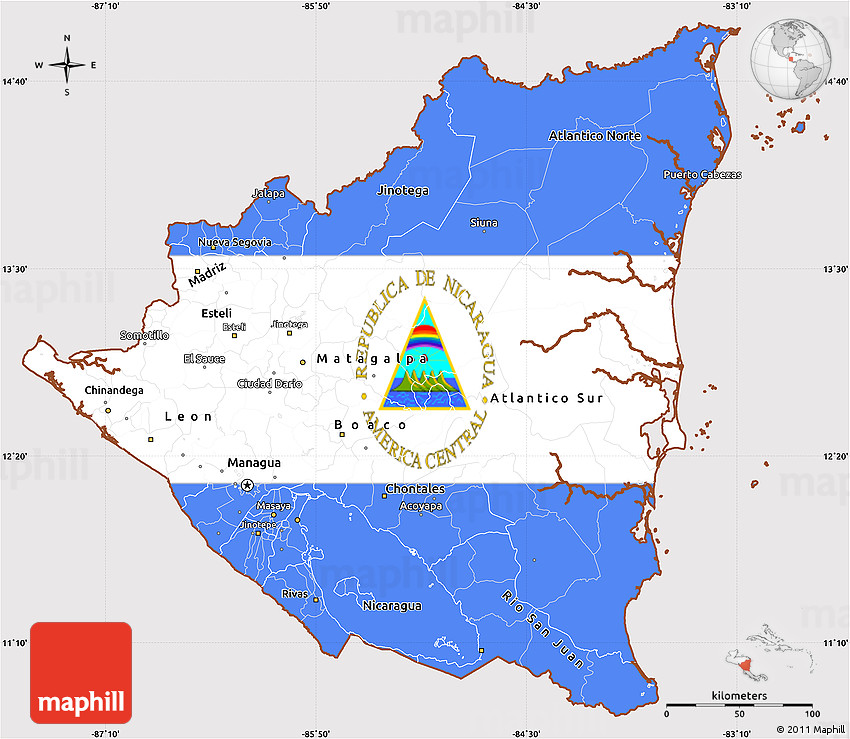 Flag Simple Map Of Nicaragua - Political map of nicaragua