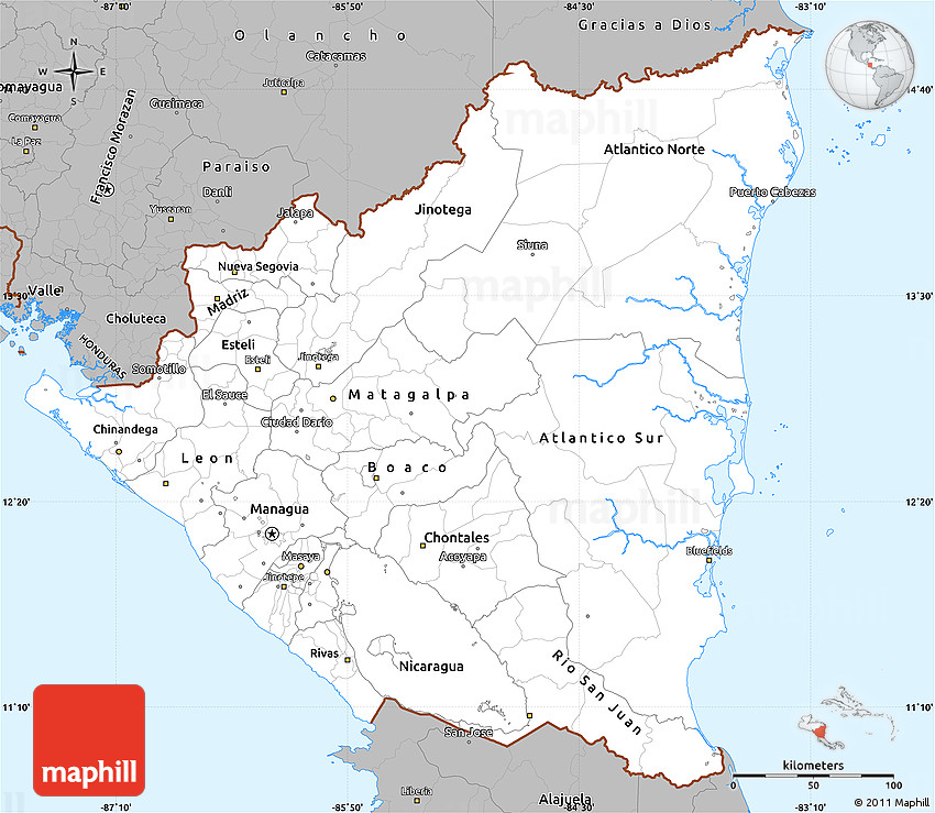 Gray Simple Map Of Nicaragua - Map of nicaragua