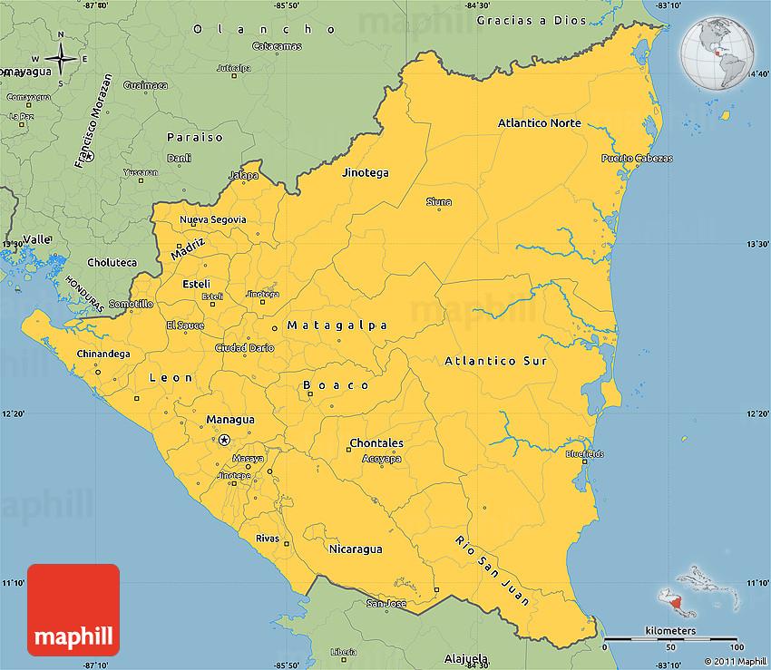 Savanna Style Simple Map Of Nicaragua - Map of nicaragua
