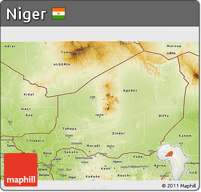 Free Physical 3D Map of Niger