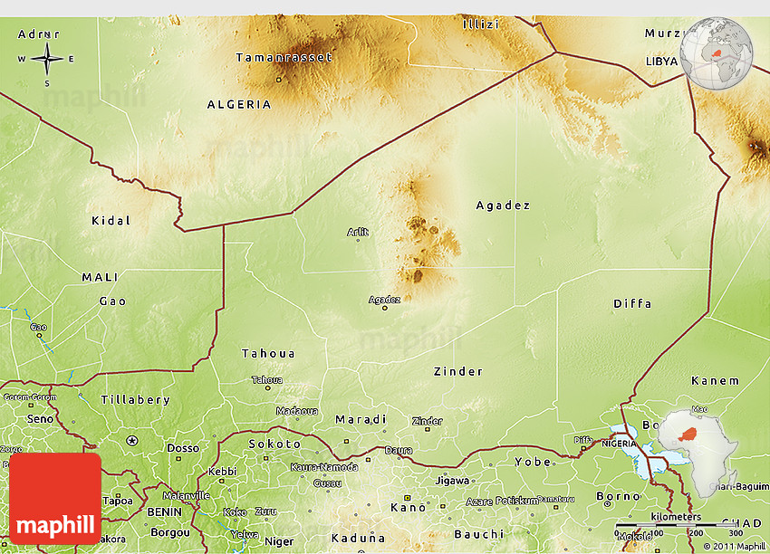 Physical 3D Map of Niger