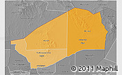 Political Shades 3D Map of Agadez, desaturated
