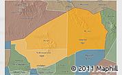 Political Shades 3D Map of Agadez, semi-desaturated