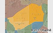 Political Shades Map of Agadez, semi-desaturated