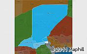 Political Shades 3D Map of Diffa, darken