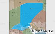 Political Shades 3D Map of Diffa, semi-desaturated