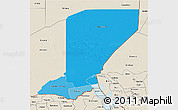 Political Shades 3D Map of Diffa, shaded relief outside