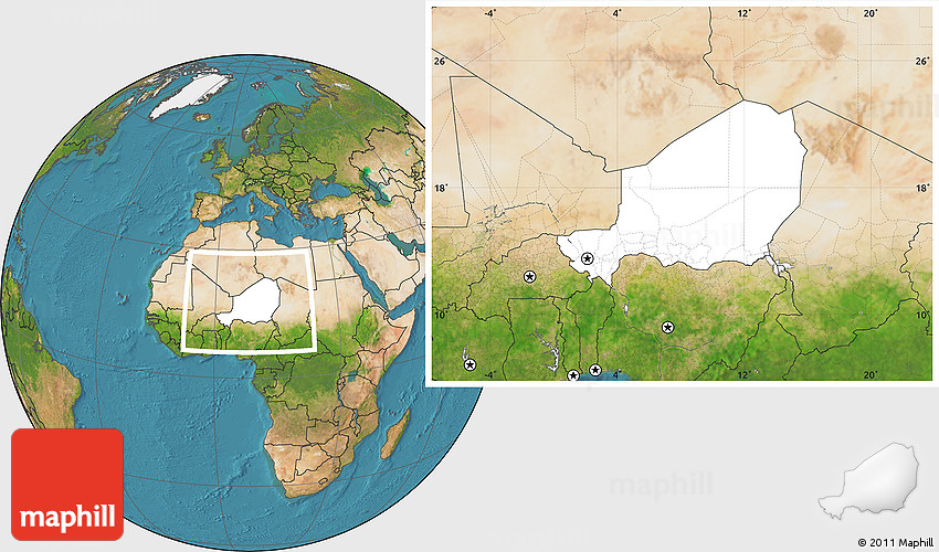 Blank Location Map of Niger, satellite outside