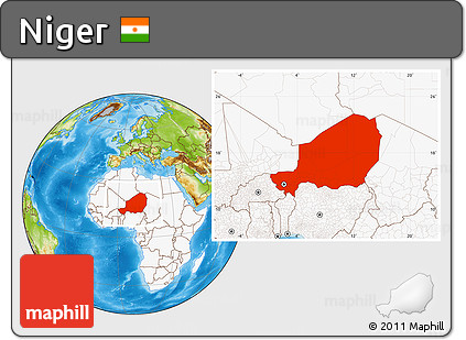 Physical Location Map of Niger, highlighted continent