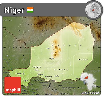 Free Physical Map of Niger darken