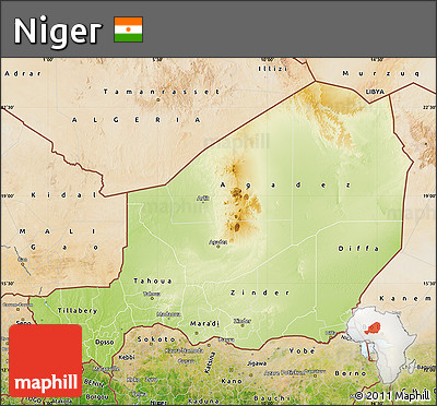 Free Physical Map of Niger satellite outside