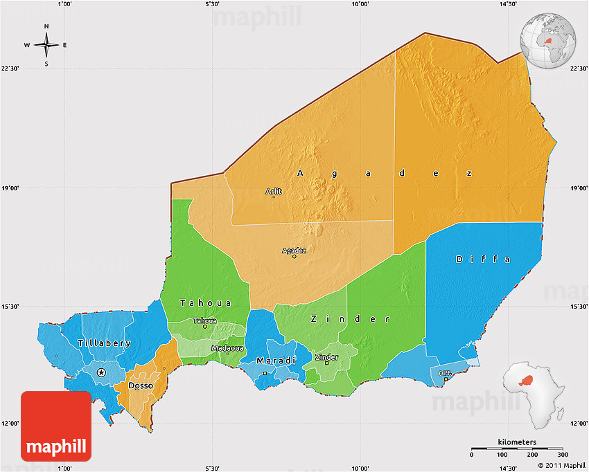 Political Map of Niger cropped outside