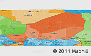 Political Shades Panoramic Map of Niger