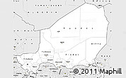 Silver Style Simple Map of Niger