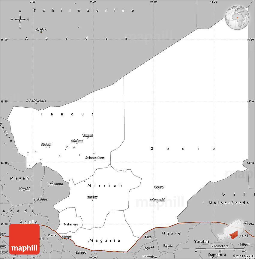 Gray Simple Map of Zinder