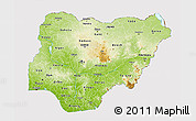 Physical 3D Map of Nigeria, cropped outside