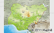 Physical 3D Map of Nigeria, semi-desaturated, land only