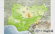 Physical 3D Map of Nigeria, semi-desaturated