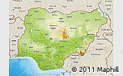 Physical 3D Map of Nigeria, shaded relief outside