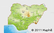 Physical 3D Map of Nigeria, single color outside