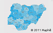 Political Shades 3D Map of Nigeria, cropped outside