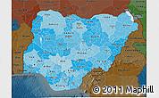 Political Shades 3D Map of Nigeria, darken